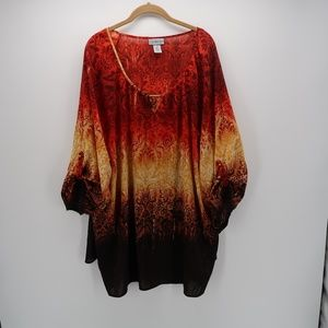 Catherines Blazing Floral Tunic Top Plus Size 4X